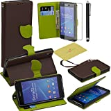 Fulland Wallet Card Holder PU Leather Pouch Flip Leaf Style Case Cover with Stand for Sony Xperia Z2 Plus Stylus Pen and Screen Protector-Coffee