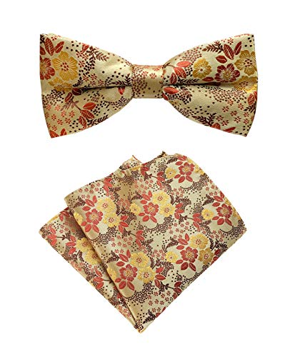 Men's Yellow Brown Pre-Tied Bow Ties Set Floral Leaf Silk Paisley Banquet Party Dress Suit Bowties ()