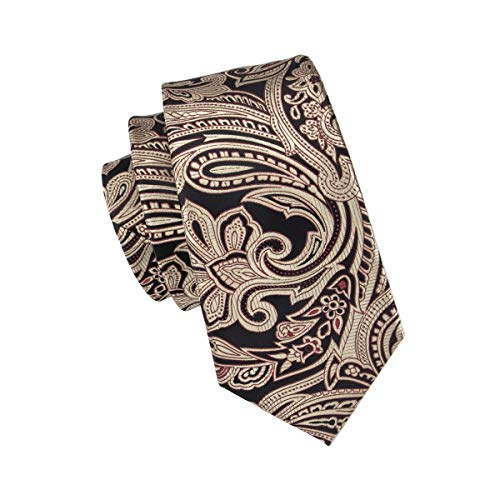 Hi-Tie Gold Black Paisley and Floral Tie Handkerchief Necktie with Cufflinks and Pocket Square Tie Set