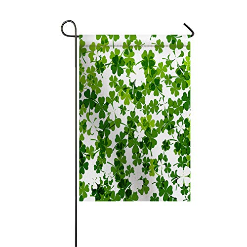 Garden Flags House Banner Decorative Flags Home Outdoor Valentine, Lucky Celtic Clovers Swirls Monochrome Irish Design St Patrick's Day, Welcome Holiday Yard Flags, Double Sides 28 x 40inch
