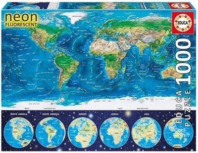 Educa Borras - Serie Neon Fluorescent , Puzzle 1.000 piezas Mapamundi Físico, Brilla en la oscuridad (16760): Amazon.es: Juguetes y juegos