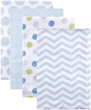 Luvable Friends Flannel Receiving Blankets, Blue Dots, 4 Count