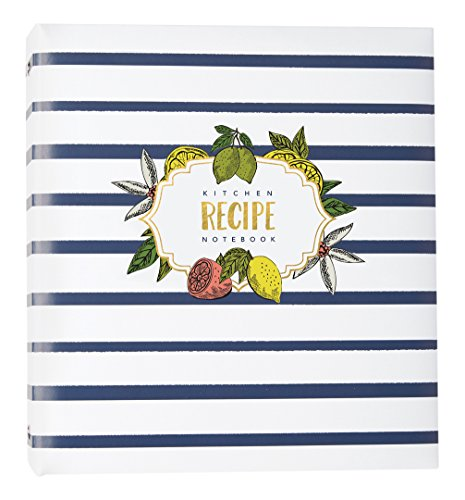 C.R. Gibson Lemon Drop Striped Recipe Binder, 9