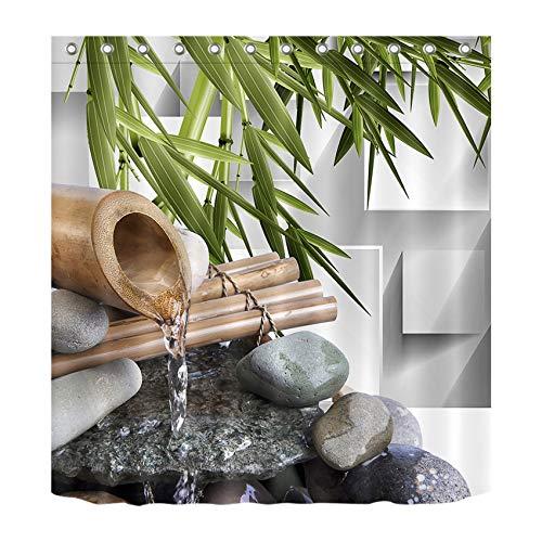 LB Japanese Zen Bamboo Shower Curtain Asian Meditation Spa Zen Stone Rock Modern Shower Curtain for Bathroom, 70 x 70 Waterproof Fabric Curtians with Hooks
