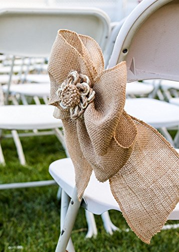 Spring Rose(TM) Burlap Jute Wedding Satin Chair Sashes(set of 2). These Are a Wonderful Decoration for Your Chairs. Be Sure and Add Them to Your List of Party Supplies.