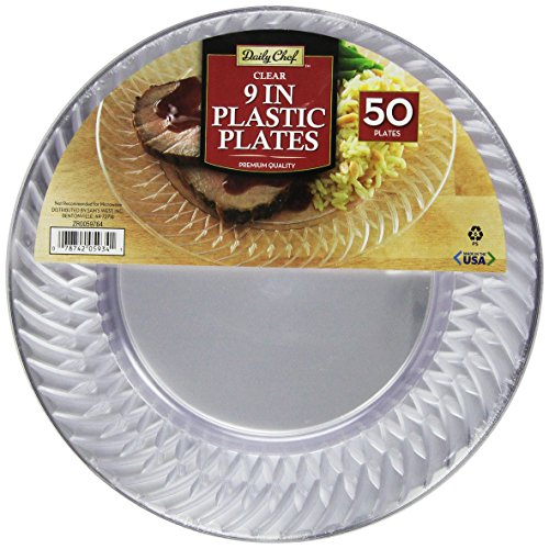 Amazon.com Daily Chef Clear Plastic Plates 9 Inch 50 Count Kitchen \u0026 Dining  sc 1 st  Amazon.com : clear plastic disposable plates - pezcame.com