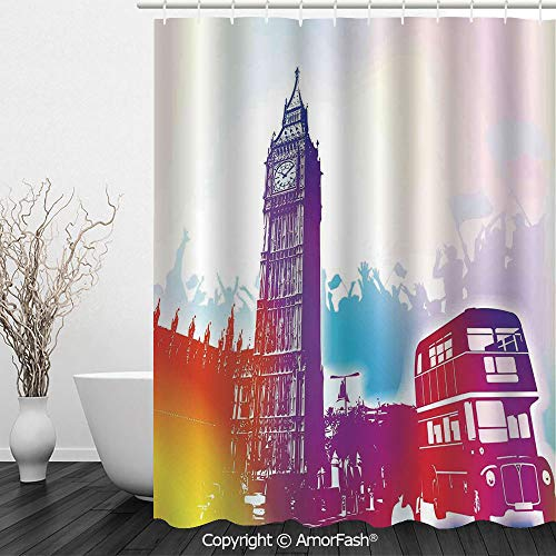 London,Bathroom Shower Curtains Durable Waterproof Fabric Bath Curtain Sets with 12 Hooks,72 x 72 inches,Historical Big Ben and Bus Great Bell Clock Tower UK Europe Street Landmark,Purple Red Yellow