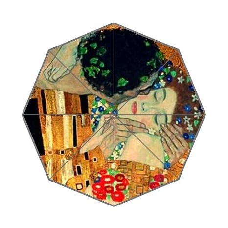 Gustav Klimt pintura arte personalizado paraguas único portátil moda paraguas plegable: Amazon.es: Deportes y aire libre
