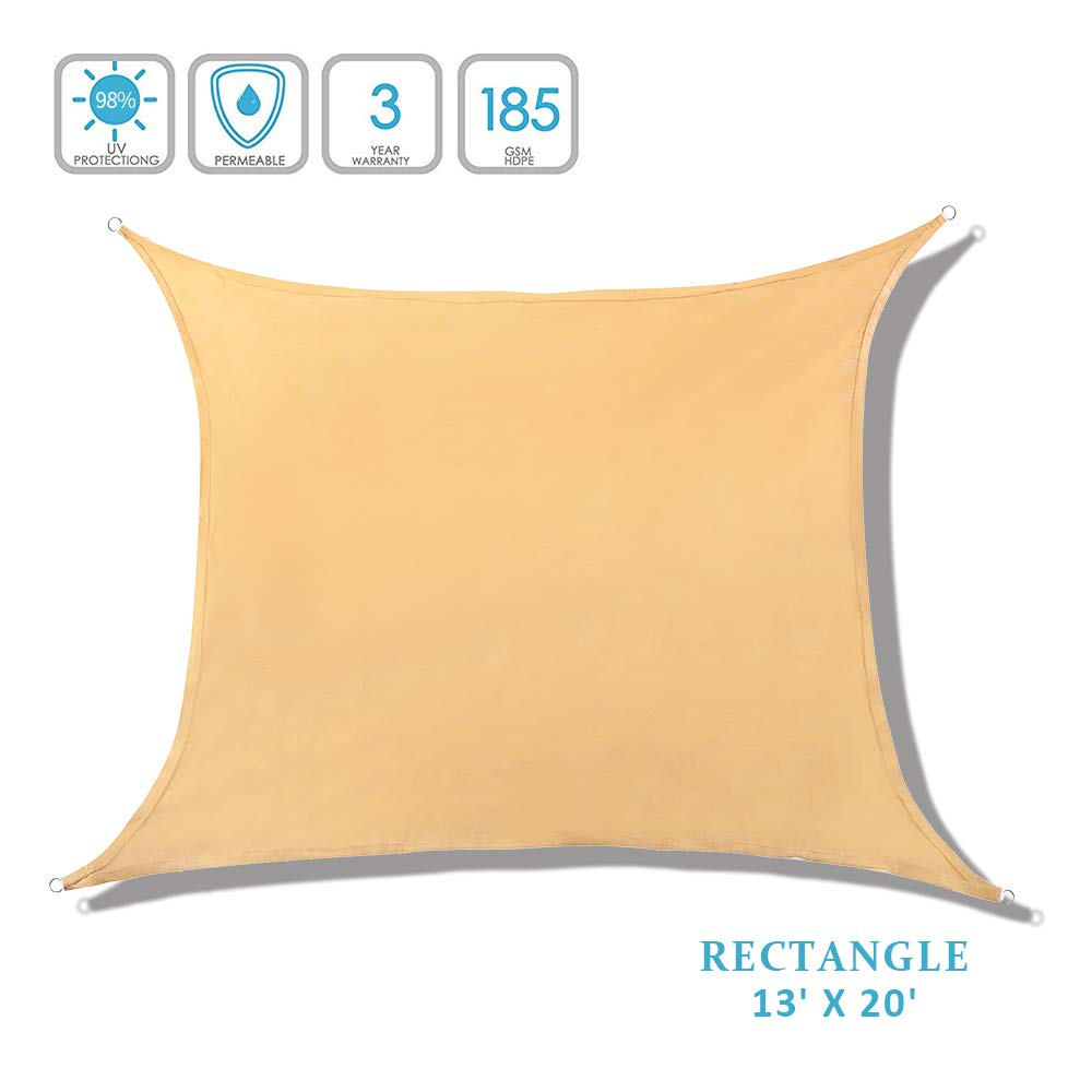Lehood Rectangle 13' x 20' Sun Shade Sail, UV Block Sun Shade Canopy for Outdoor Patio Garden, Sand Color