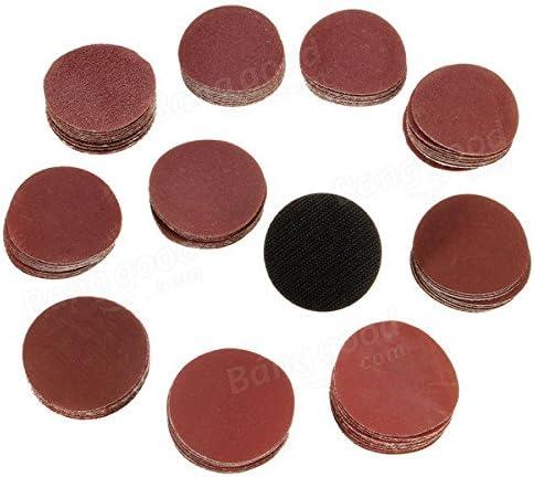 Almohadillas para discos de lijado 60PCS 50MM Discos de lijado rojo de forma redonda de 2 pulgadas 100 240 600 800 1000 2000# Granos de arena para lijadora orbital