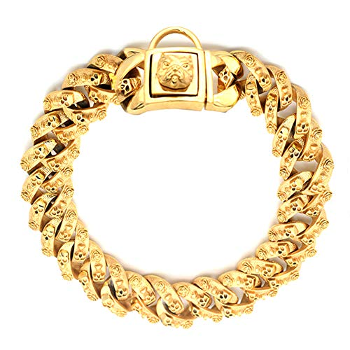 r, Stainless Steel Training Collar, Heavy Duty Cuban Link Gold Plated Large Pet Necklace Choke for Bully Pitbull,Bulldog, Mastiff, 30mm Wide (20 inch, Gold) ()