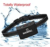 MASBRILL Rechargeable Dog Bark Collar – Vibration No Shock Collar – Humane Waterproof Anti Bark Training – Stop Barking Collar for Small Medium Large Dogs – Best No Bark Control (Black)