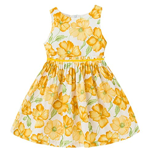 Tonwod Girls Summer Dresses,Sleeveless Cotton Casual Floral Sundress Beach Skirt Suit for 1-10 Years Old Girls (9/10,Yellow-18) ()