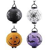 Coxeer Halloween Paper Lanterns, 4 Pack Halloween Lantern Folding LED Decorative Paper Lantern Halloween Hanging Decorations