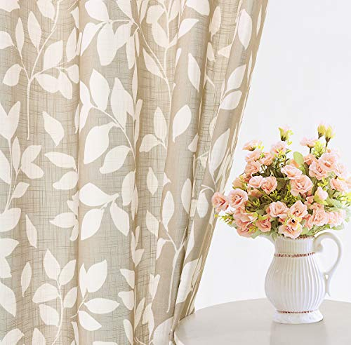 Leaf Print Semi Sheer Curtains for Living Room 55