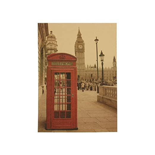 MINGH Londres cabina telefónica roja cartel de papel Kraft ...