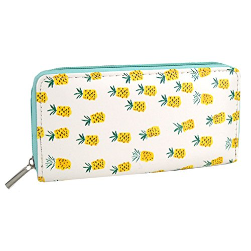 Cash PU Holder Goodbag Fruits Wallets Leather Clutch Card Zip Credit Pineapple Wristlet Around Boutique Women Long E6wwBxgOq