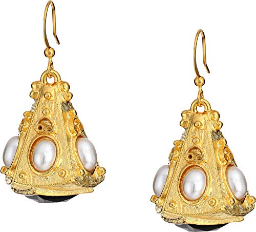 (Kenneth Jay Lane Women's Gold Triangle with White Pearl Cabs Top/Jet Bottom Fishhook Earrings Gold/White Pearl/Jet One Size )