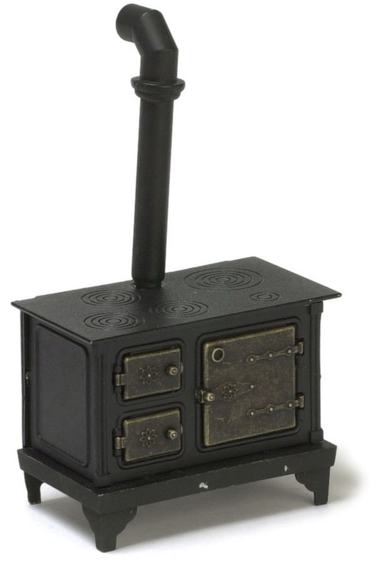 Dollhouse Miniature Black & Bronze Wood Stove
