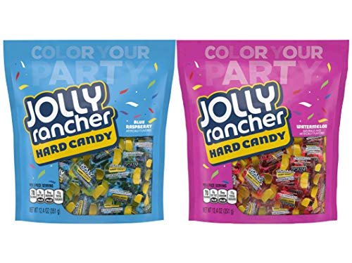 Assorted Jolly Rancher Hard Candy 2 Pack Bundle - (1) Blue Rapsberry 12.4 Ounce Bag and (1) Watermelon 12.4 Ounce Bag ()