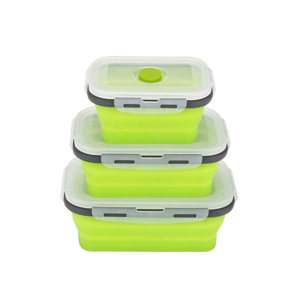 800 ml Gris Verde 3Pcs Rrunzfon Plegable de la Caja de Bento Silicona recipientes para almacenar Alimentos con Tapa abatible Caja de Almuerzo Reutilizable para la Cocina o ni/ños 350//500