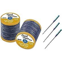 Denim Sewing Set - Three Universal Denim Machine Needles Size 100/16, with Two Dual Duty Plus Blue Denim Thread, 125 yard Each