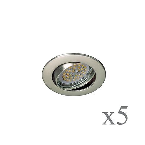 Wonderlamp Basic W-E000105 Pack de Focos Empotrables Redondos con Portalámparas GU10, Níquel,