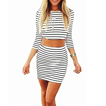 GigaMax(TM) S-XL Summer Autumn Sexy Women Beach Dress Stripe 2PCS Set