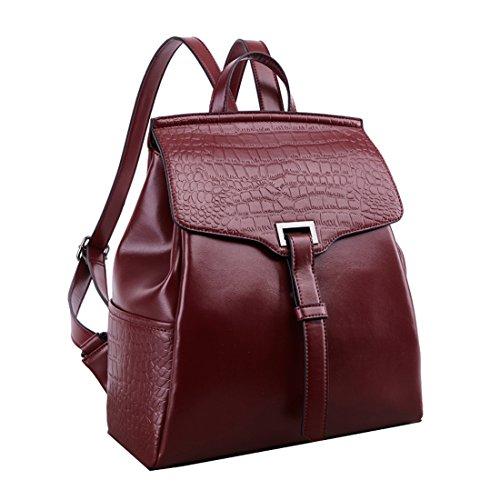 Sweetmeet Women's Genuine Leather Backpack Purse Satchel Multifunction School Bag Fit Ipad Crocodile Wine Red