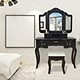 Vanity Set Makeup Table Tri Folding Mirror Dressing Table with 5 Drawers & Stool,Black
