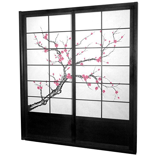 Japanese Shoji Doors - Oriental Furniture 7 ft. Tall Cherry Blossom Shoji Sliding Door Kit - Black
