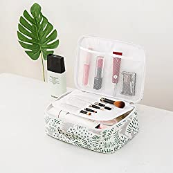 LANGUGU Waterproof Large Capacity Cosmetic Bag Portable Makeup Brush Organizer Kit Multifunctional Vacation Travel Home Toiletry Cute Printed Pouch for Little Young Girl (Cat)