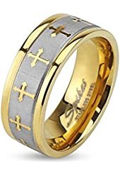 STR-0149 Stainless Steel Celtic Cross Gold IP Ring with Brushed Center Two Tone Ring; Sold as 1 Piece