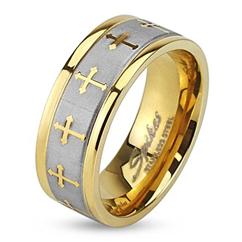 Jinique STR-0149 Stainless Steel Celtic Cross Gold IP Ring with Brushed Center Two Tone Ring; Sold as 1 Piece (10) (Two Tone Gold Cross Ring)