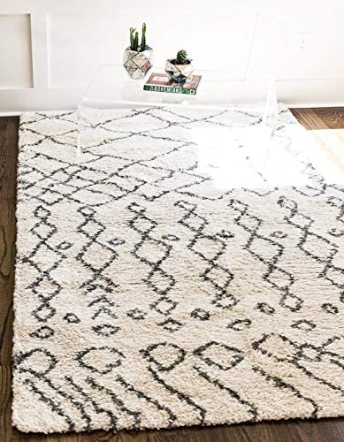 Unique Loom Rabat Shag Collection Tribal Moroccan Nomad Plush Pure Ivory Area Rug 8 0 x 10 0