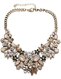 Vintage Gold Tone Collar Chain Sparkly Crystal Choker Necklace for Party