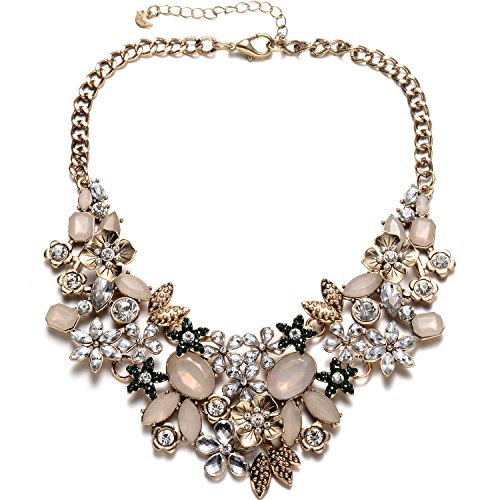 Fsmiling Antique Gold Bib Statement Necklace with Crystal Flower Cluster for Women Weddings Prom