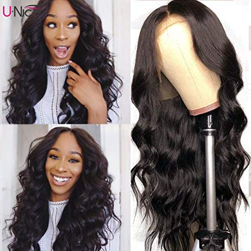 UNice 13x6 Body Wave Lace Front Human Hair Wigs Free Part, Unprocessed Brazilian Remy Hair Wig, Pre Plucked Natural Hairline with Baby Hair 150% Density (14