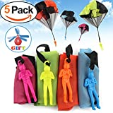 Qiwoo 5 Pack Flying Toy Parachute Balloon Helicopter Toys for Kids 4 Colors Mini No Tangle Throwing Flying Parachute Army Man Sports  Outdoor Play for Childrens Boys Girls Teens Party Favors