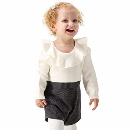 556afcbc0 Crazy-Store Baby Girls Rompers Knitted Ruffle Long Sleeve Elastic Jumpsuit  (Grey 12-