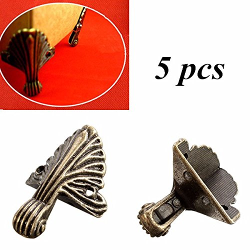 Price comparison product image BephaMart 5pcs Case Box Corners For Furniture Decorative Triangle Pattern Carved 3.2x1.5cm