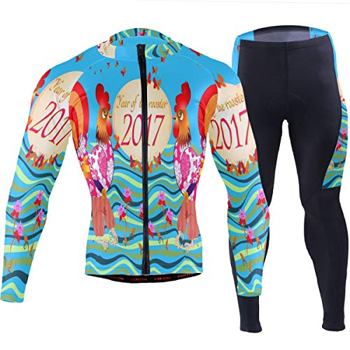 Two Cute Cartoon Cocks Mens Cycling Jersey Suit Full Sleeve Mountain Bike Coat Pants Clothes Outfit ()