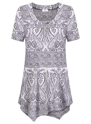 Women's Casual Tunic Tops, Paisley Print Short Sleeve V Neck Flowy Shirt for ()