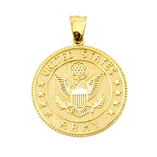 Solid 10k Yellow Gold US Army Coin Pendant (Pendant Eagle Gold Solid 10k)