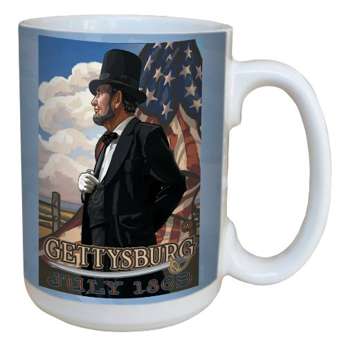 Tree-Free Greetings lm43105 Historic Gettysburg Abraham Lincoln with Flag by Paul A. Lanquist Ceramic Mug, 15-Ounce, Multicolored