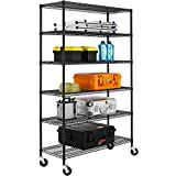 NSF Wire Shelving Unit 6-shelf Large Storage Shelves Heavy Duty Metal Wire Rack Shelving Height Adjustable Commercial Grade Utility Steel Storage Rack on 4' Casters 3600 LBS Capacity-18x48x76,Black