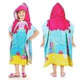 Tirrinia Little Mermaid Hooded Poncho Kids Beach Bath Swim Towel 100% Cotton for 1-6 Years Girls, 24 by 52-inches