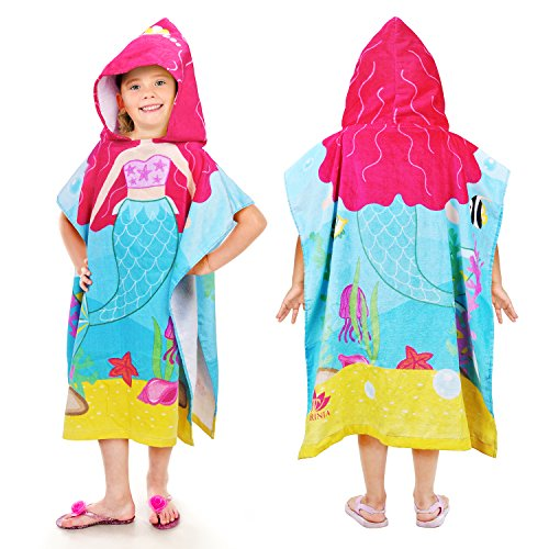 Tirrinia Little Mermaid Hooded Poncho Kids Beach Bath Swim Towel 100% Cotton for 2-7 Years Girls Gift, 24 by 52-inches -