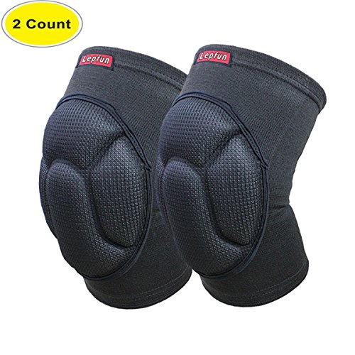 Lepfun S9000 Knee Pads, (1Pair) Thick Sponge Anti-collision Kneeling Kneepad Support for Outdoor, Climbing and Sports (S9000 Black)