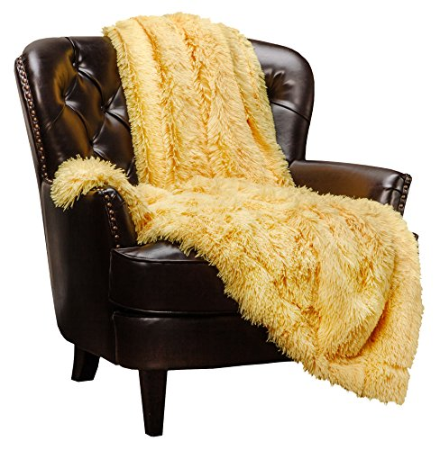 "Price comparison product image Chanasya Super Soft Shaggy Longfur Throw Blanket | Snuggly Fuzzy Faux Fur Lightweight Warm Elegant Cozy Plush Sherpa Microfiber Blanket | For Couch Bed Chair Photo Props - 50""x 65"" - Yellow"